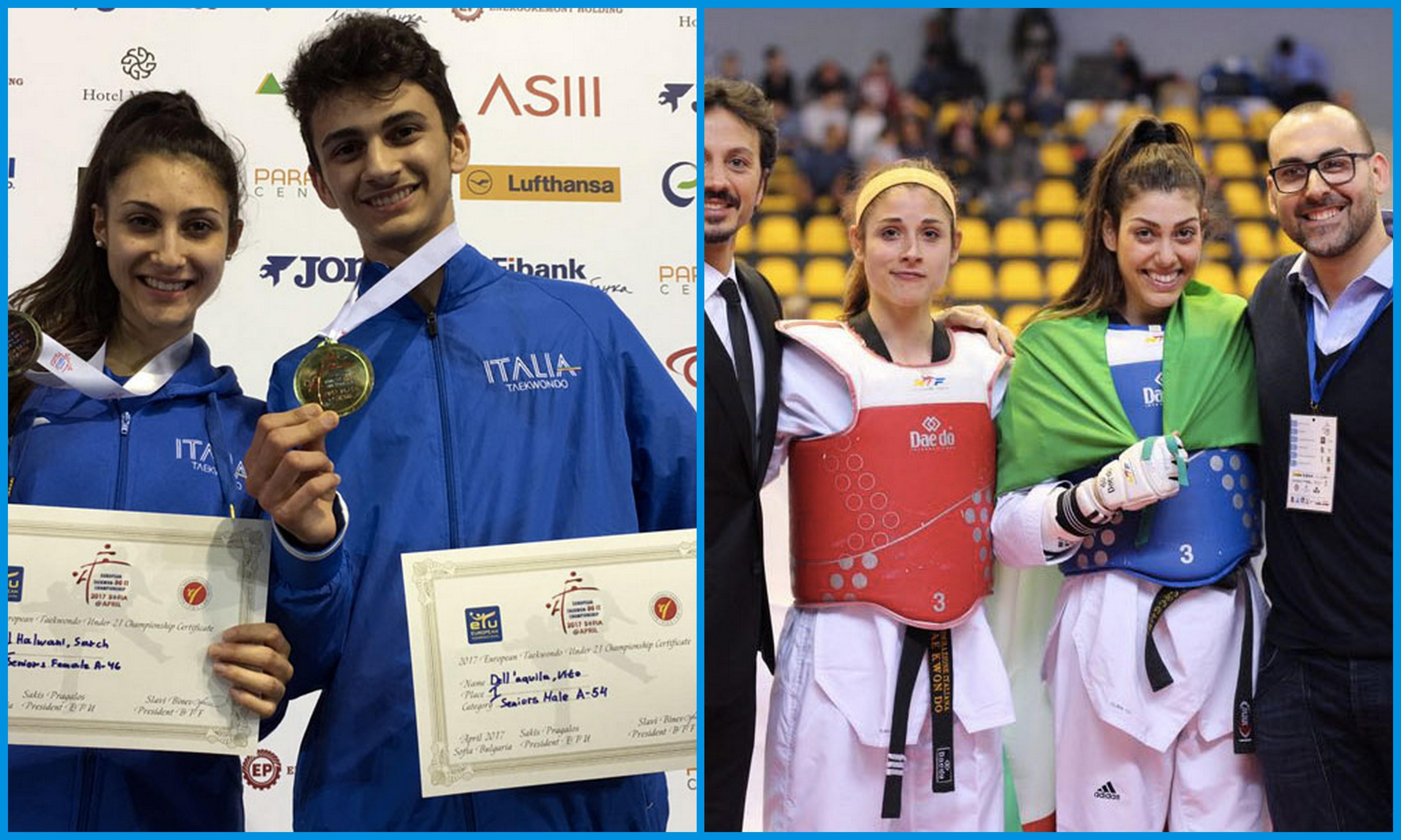 sofia-europei-U21-taekwondo-vito-dell'-aquila-oro-sarah-al-halwani-argento-daniela-rotolo-oro-cristina-gaspa-argento-italia