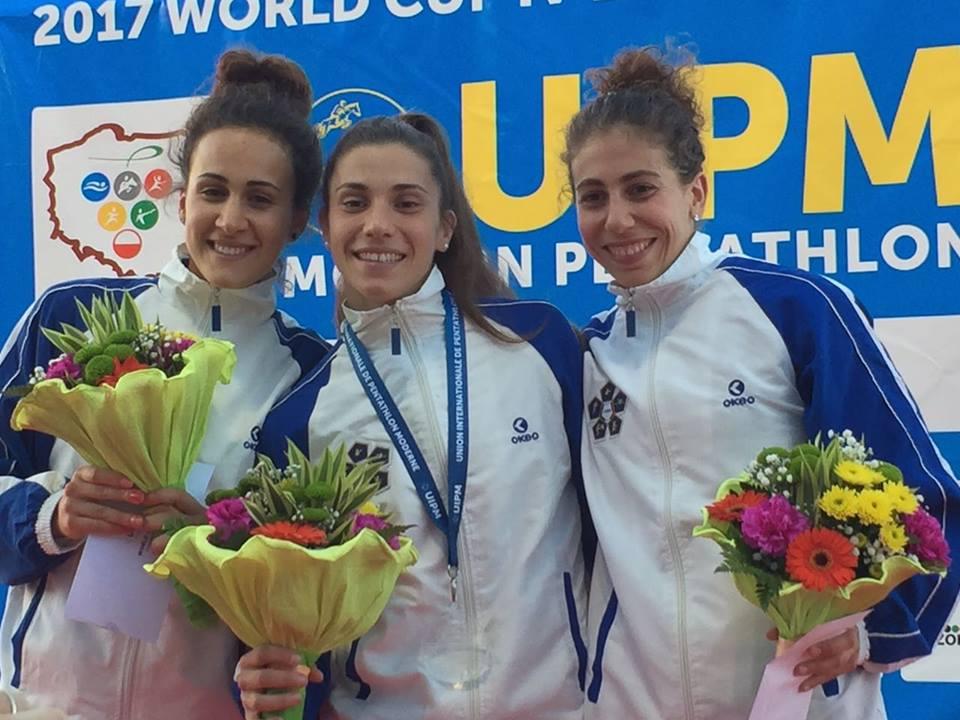 Alice sotero oro francesca tognetti alice sotero oro alessandra frezza coppa del mondo pentathlon moderno italia world cup 2017