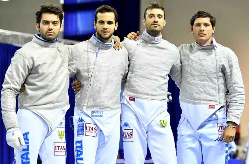 Enrico Berrè, Luca Curatoli, Aldo Montano e Luigi Samele in posa, all'ultimo giorno degli Europei di Tbilisi 2017