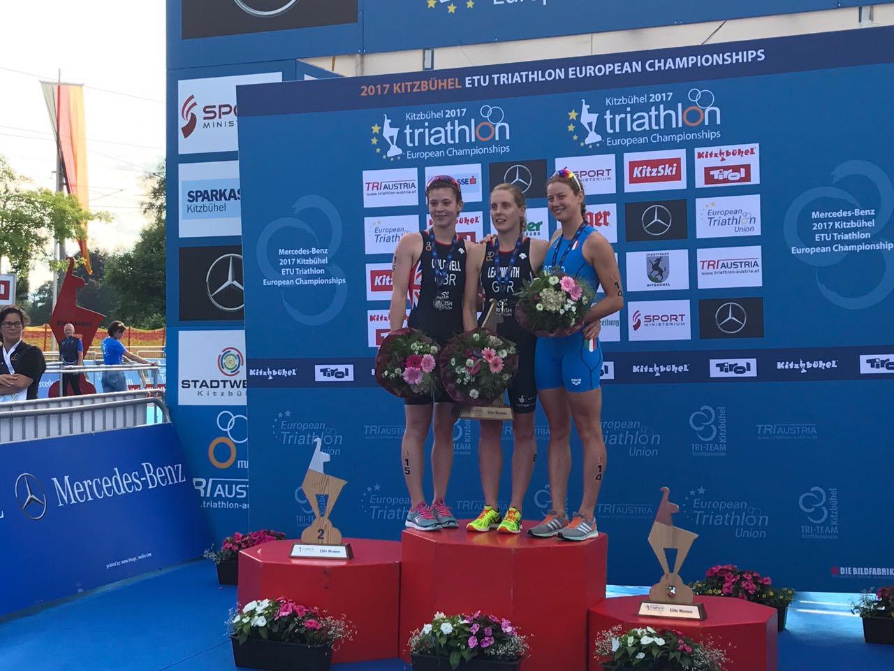 triathlon europei 2017 alice betto bronzo-italia podio europeo 2017 kitzbuhel austria