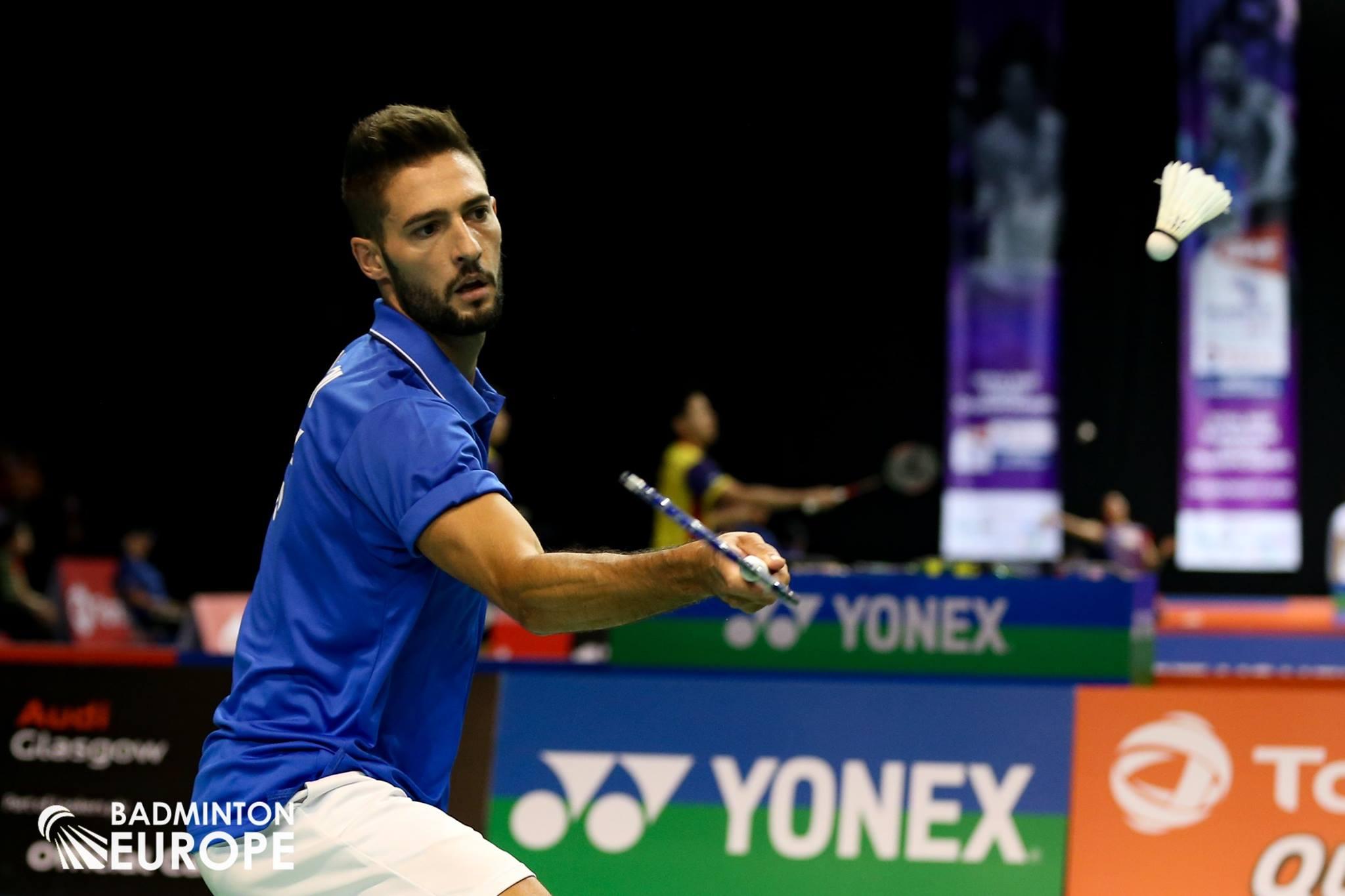 Rosario Maddaloni in azione durante i Mondiali di badminton 2017