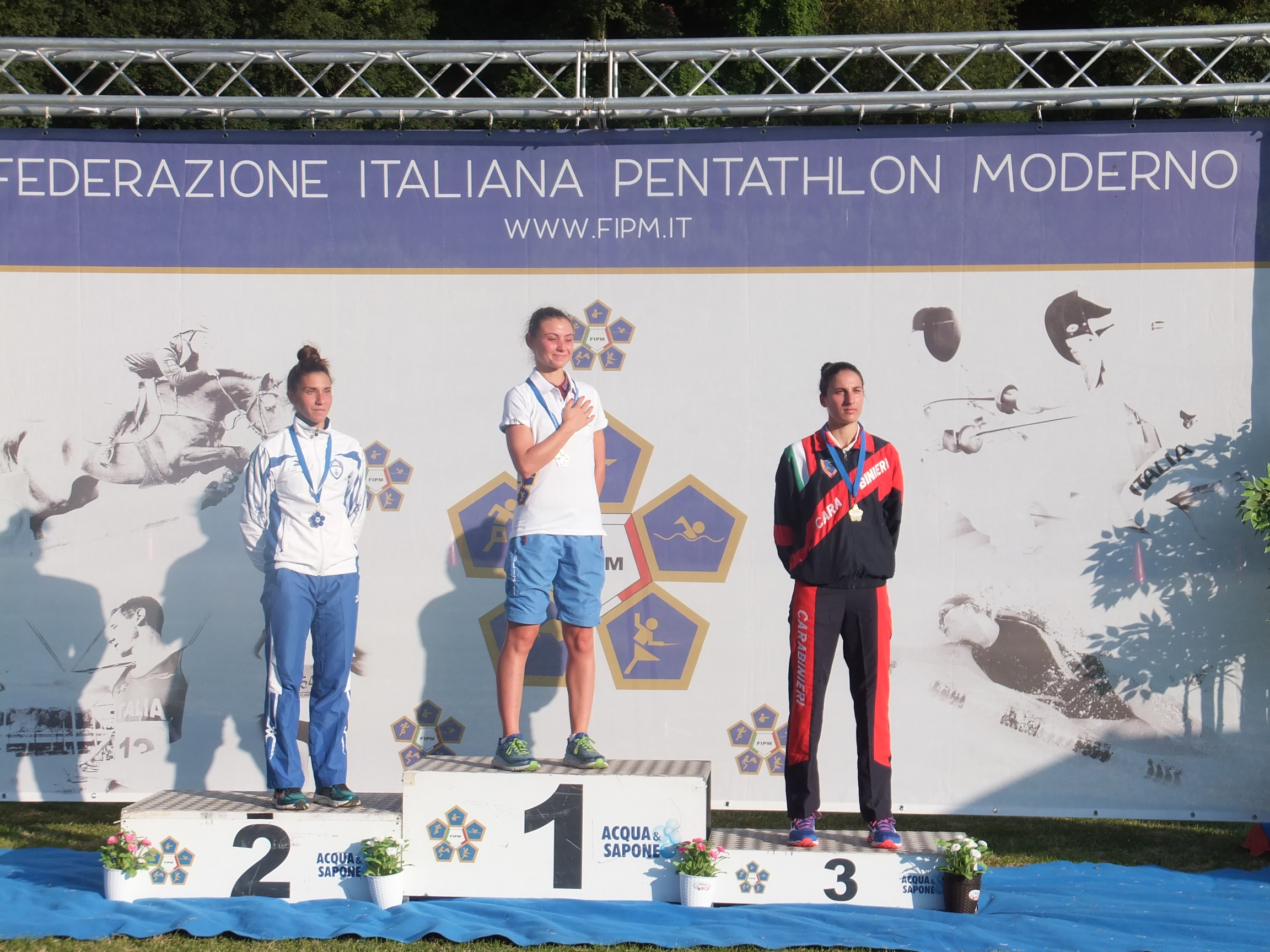 pentathlon campionato italiano assoluto 2018 podio femminile irene prampolini alice sotero elena micheli italia pentathlon moderno modern pentathlon italy