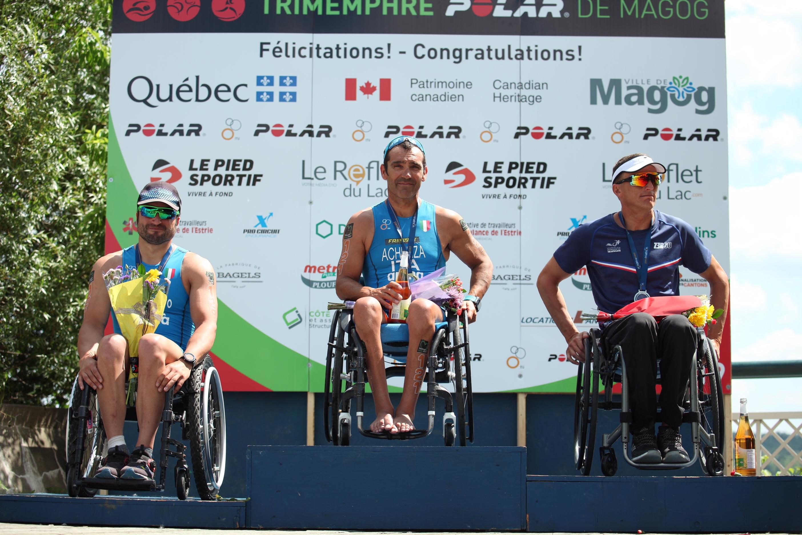 paratriathlon coppa del mondo 2019 magog giovanni achenza oro pier alberto buccoliero bronzo italia italy world paratriathlon cup triathlon paralimpico paralympics gold bronze world cup canada 2019