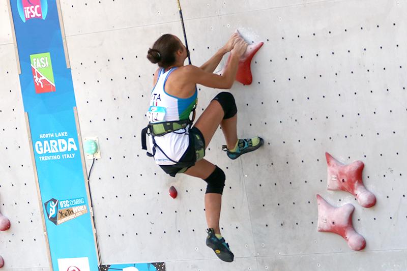 Giulia Randi del team azzurro di Arrampicata Sportiva