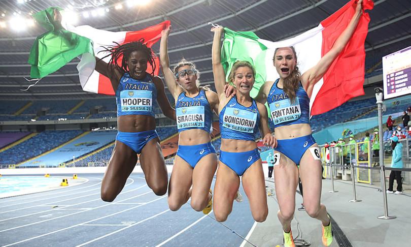 atletica world relays 2021 due ori 5 tokyo olimpiadi italia Irene Siragusa, Gloria Hopper, Anna Bongiorni e Vittoria Fontana italy oro gold chorzow atletica leggera athletics olympics qualifications tokyo qualifiche olimpiche polonia poland