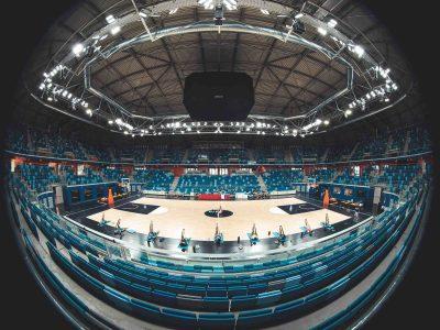 Uno scorcio dell'Allianz Cloud di Milano durante una sessione di allenamento della Nazionale italiana di basket