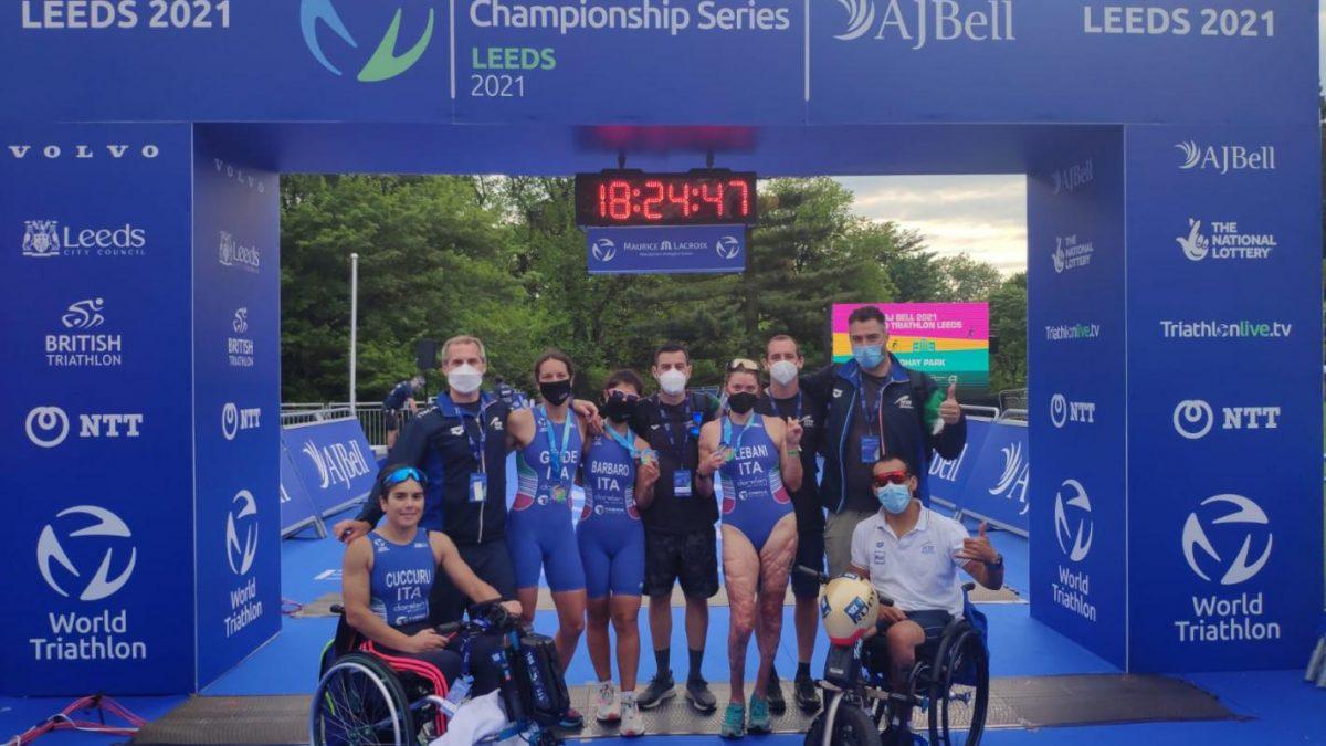 paratriathlon world series 2021 leeds anna barbaro charlotte bonin veronica yoko plebani secondo posto italia italy triathlon paralimpico world para series 2021