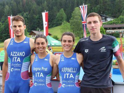triathlon europei sprint e mixed relay 2021 italia italy campioanti europei 2021 kitzbuhel Luisa Iogna Prat, Alessio Crociani, Costanza Arpinelli, Nicola Azzano italy