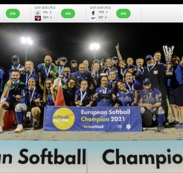 La squadra azzurra di softball, vincitrice agli Europei 2021