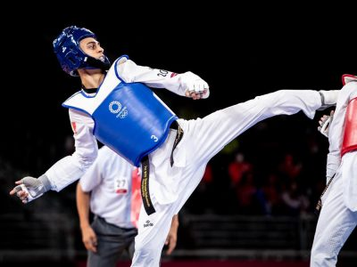 Vito Dell'Aquila in azione nella semifinale del torneo olimpico di taekwondo, categoria -58 kg